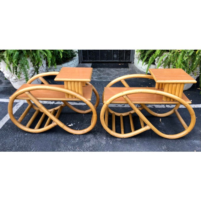 1950's Bent Rattan Bamboo Side Table Nightstands - a Pair For Sale - Image 4 of 6