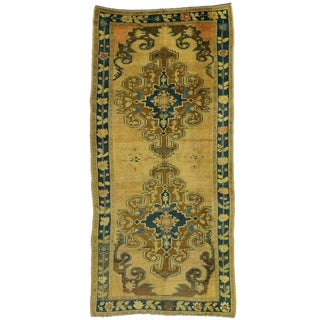 Vintage Turkish Oushak Runner with Modern Hollywood Regency Style For Sale