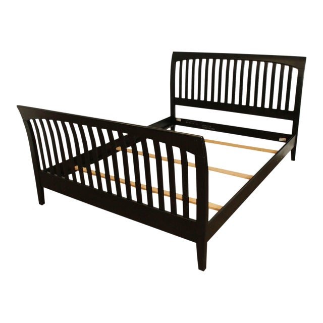 Ethan Allen American Impressions Queen Size Black Sleigh Bed For Sale