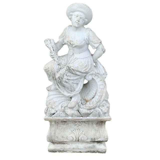 Large Versailles Style Cast Stone Statue of 'Harvest' on a Pedestal Base For Sale - Image 12 of 12