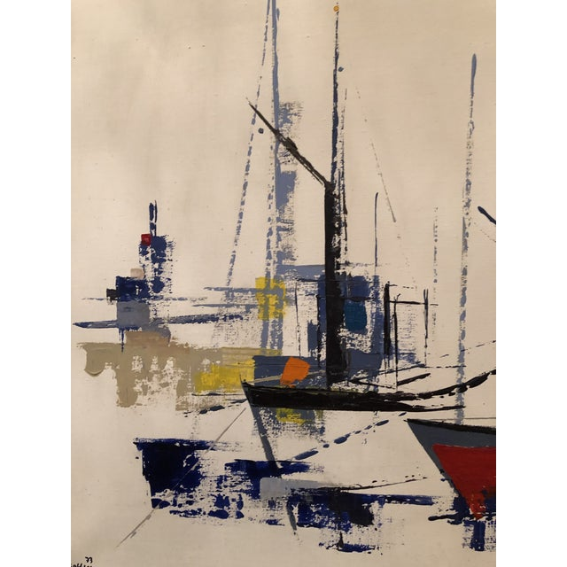 1970s Vintage Jp Collin Abstract Sailboat Painting For Sale - Image 4 of 9