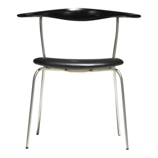 4 Hans Wegner Pp701 Bull Horn Dining Chairs in Black Lacquer, Leather and Steel