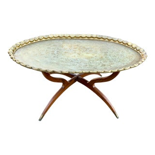 Mid Century Spider Leg Teak & Brass Table For Sale