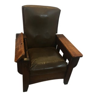 Antique Stickley Mission Oak Leather Arm Chair Recliner For Sale