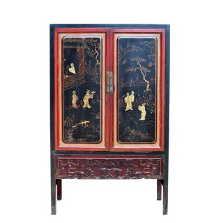 Antique Chinese Black & Red Cabinet