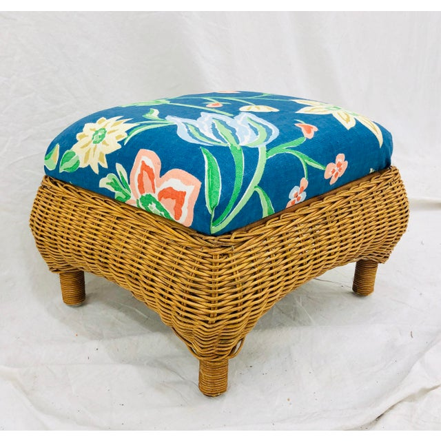 Wicker Vintage Woven Wicker Foot Stool For Sale - Image 7 of 7
