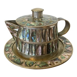 Mexican Modern Abalone Teapot For Sale