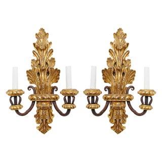 Circa 1980 Gilt Baroque Style Sconces - A Pair For Sale