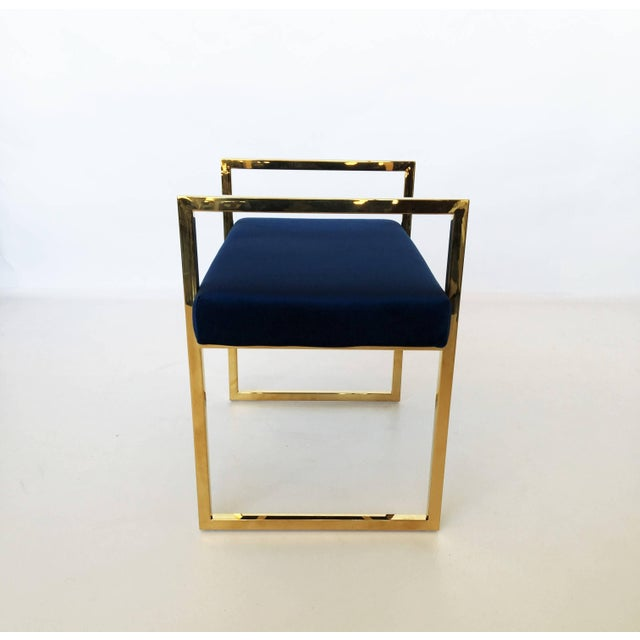 Brass Pair of Polished Brass Benches in the Style of Charles Hollis Jones For Sale - Image 7 of 8