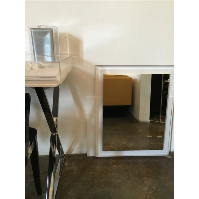 Mid-Century Modern Lucite Framed Wall Mirror - Image 3 of 8