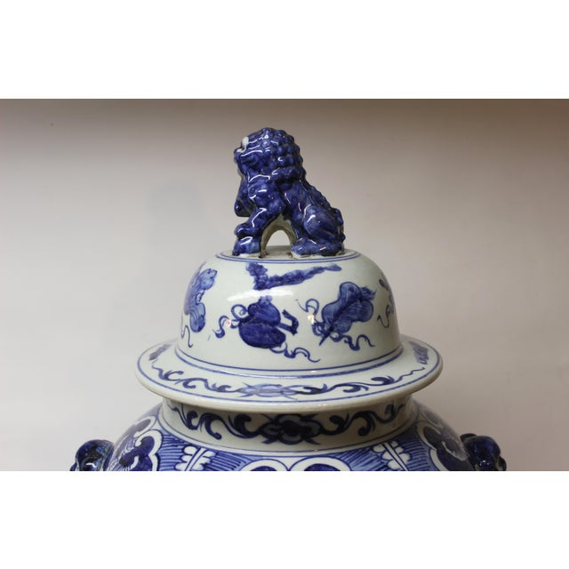 Asian Large Chinese Blue and White Covered Jar For Sale - Image 3 of 12