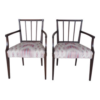 Antique Edwardian / Hepplewhite Style Mahogany Arm Chairs 19th Century - A Pair For Sale