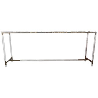 Charles Hollis Jones Nickel and Lucite Console For Sale