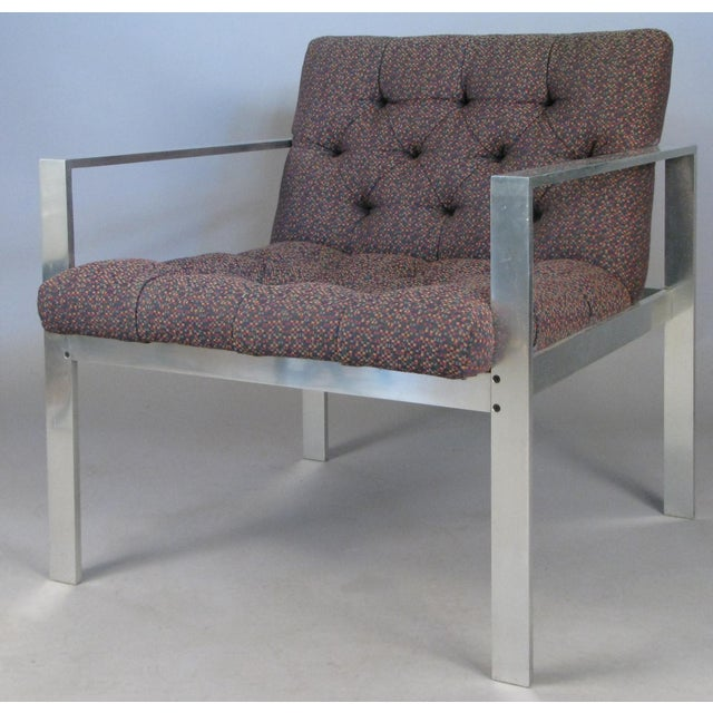 A pair of Classic modern aluminum frame lounge chairs, with diamond tufted upholstery, designed by Harvey Probber, circa...