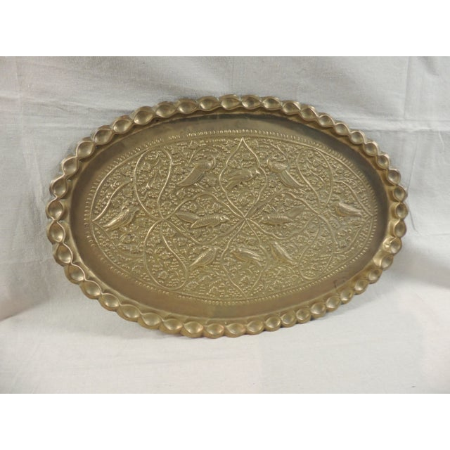 Antique Persian Oval Brass Tray - Image 2 of 4