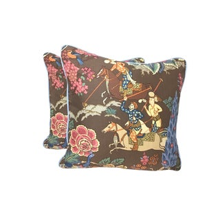 Persian Cowtan and Tout Linen and Cotton Printed Pillows - a Pair For Sale
