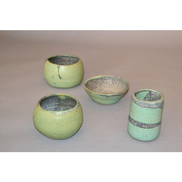 Vintage Handcrafted Aztec Green and Gray Pottery Bowls / Vessel - Set of 4 For Sale - Image 13 of 13