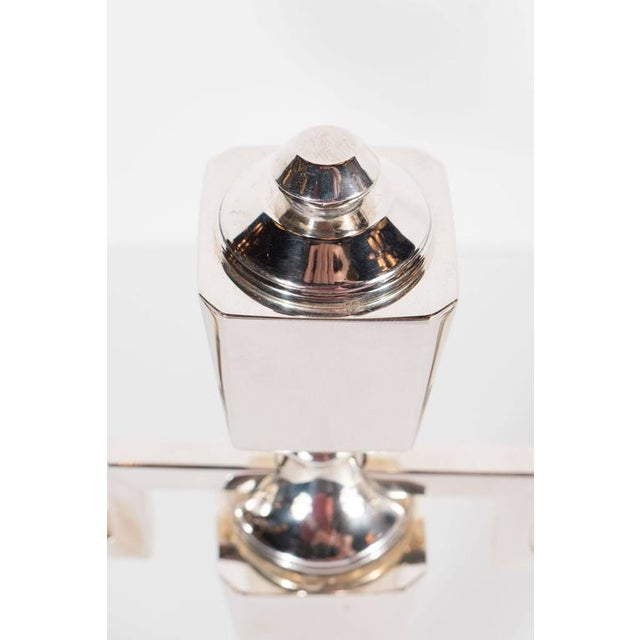 Silver Gorgeous Pair of Art Deco Customizable / Adjustable Sterling Silver Candlesticks For Sale - Image 8 of 11