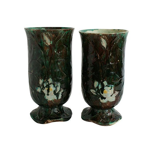 Antique Holdcroft Majolica Vases - a Pair - Image 5 of 6