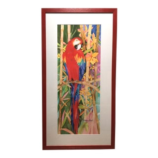 Framed Macaw Watercolor Giclee Print by Stephanie Pollack For Sale
