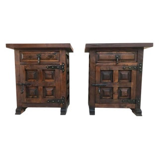 20th Century Brutalist Pair of Spanish Nightstands With Carved Drawer and Door For Sale