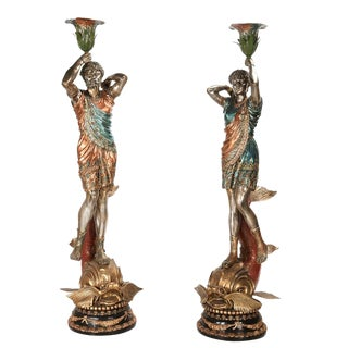 Life Size Bronze Torchiere Figural Lamps Polychrome Decoration For Sale