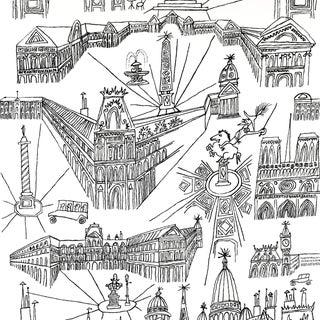 Schumacher Views of Paris Wallpaper in Black & White For Sale