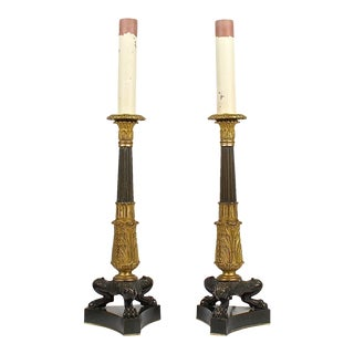 Antique Patinated and Gilt French Bronze Empire Style Candlestick Lamps - A Pair For Sale