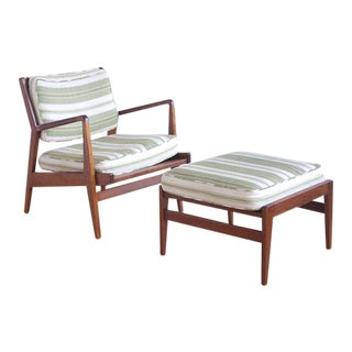 Jens Risom Lounge Chair and Ottoman For Sale