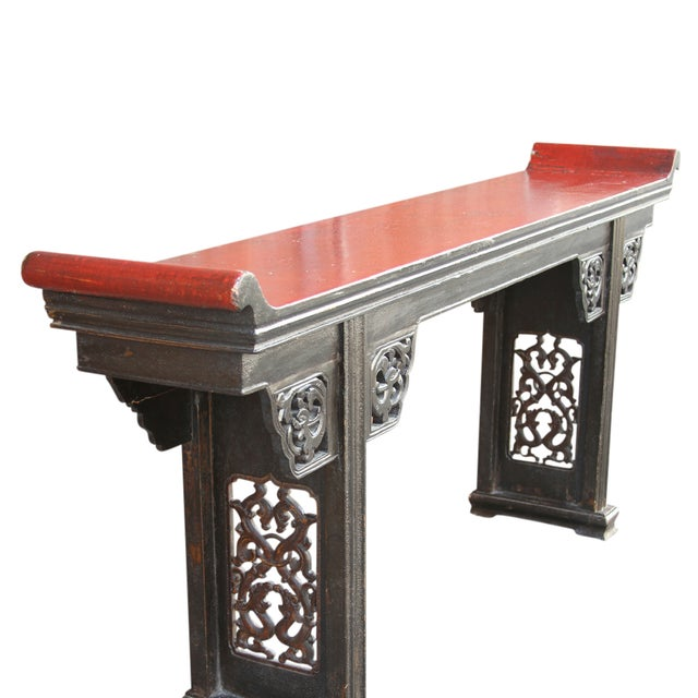Antique Carved Asian Alter Table For Sale - Image 4 of 8