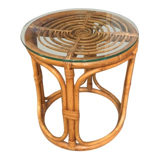 Mid 20th Century Vintage Ficks and Reed Bamboo Style Side Table Stool
