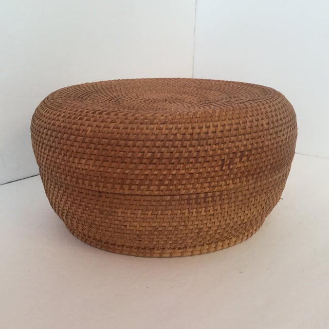 Woven Basket & Lid For Sale - Image 10 of 11