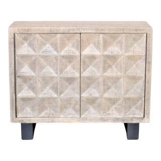Indian Whitewashed Wooden 2-Door Accent Cabinet With Iron Base For Sale