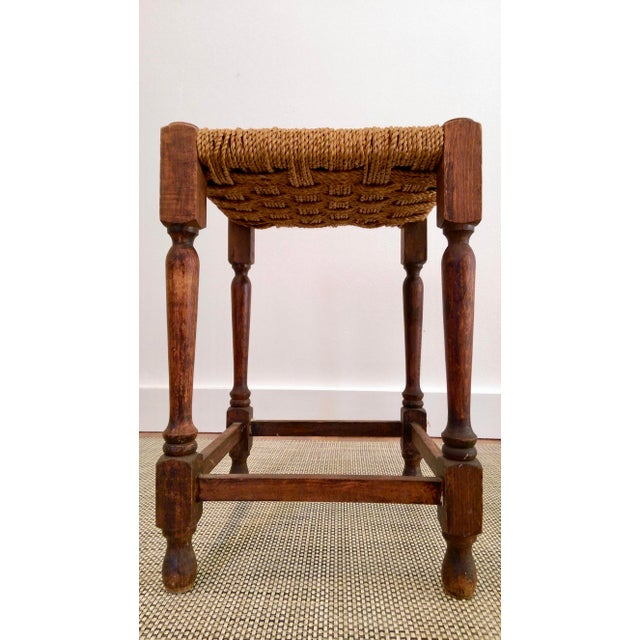 19th-C. Turned Wood & Rope Stool For Sale - Image 4 of 9