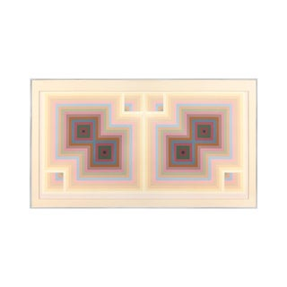 1970s Geometric Mirrored Twin Square Print in Pastel Tones For Sale