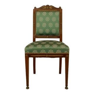 French Empire Green Damask Side Chairs For Sale