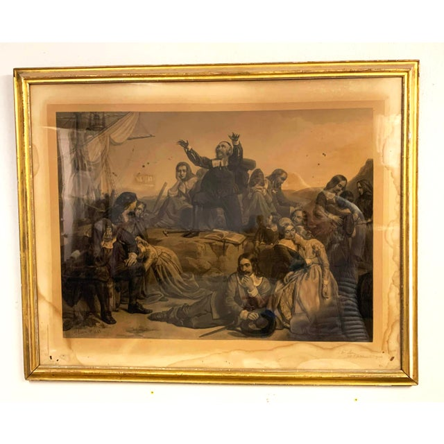 Antique French Lithograph in Gold Leaf Frame For Sale - Image 13 of 13