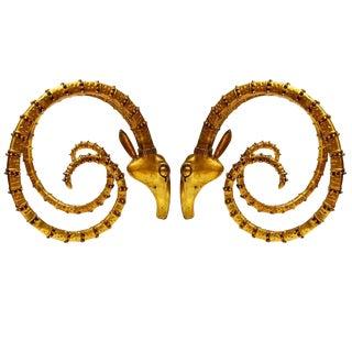 Alain Chervet Style Brass Ram's Head Table Base - a Pair For Sale