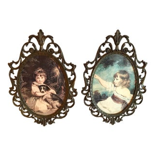 Vintage Italian Metal Frame Prints - a Pair For Sale