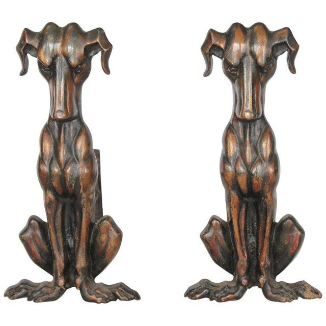 1920s Art Deco Copper Dog Andirons - a Pair For Sale - Image 5 of 5