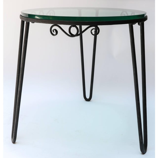 Italian 1960s Italian Round Metal Side Table With Glass Top For Sale - Image 3 of 7