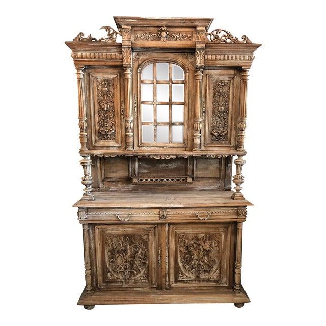 19th C. French Henri II Renaissance Revival Buffet & Hutch For Sale