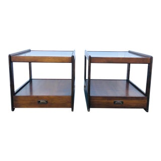 Mid Century Modern Walnut Glass-Top End Tables - a Pair For Sale