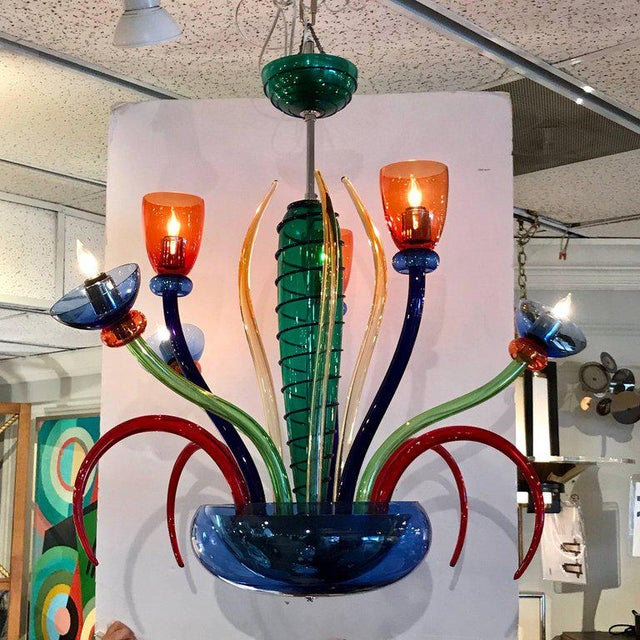 Late 20th Century Colorful Italian Artimede Ve-Art Glass Chandelier in the Manner of Gio Ponti For Sale - Image 5 of 13