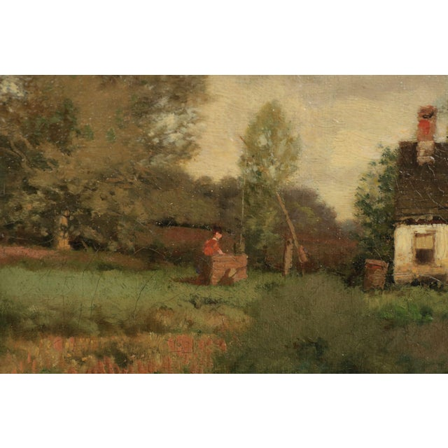 Early 20th Century Henry Pember Smith Landscape Painting of Cottage by Lake For Sale - Image 5 of 11