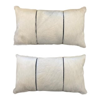 Cream Hair-On-Hide Lumbar Pillows - A Pair For Sale