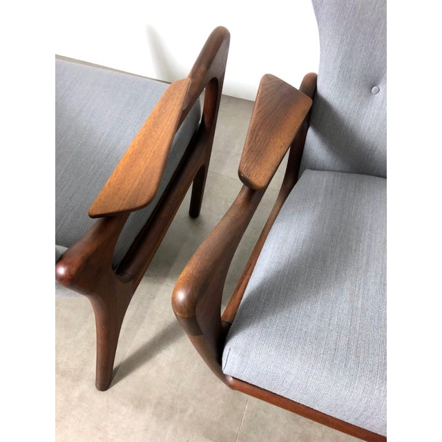 Mid-Century Modern 1960s Pair Adrian Pearsall for Craft Associates Wingback Lounge Chairs For Sale - Image 3 of 10