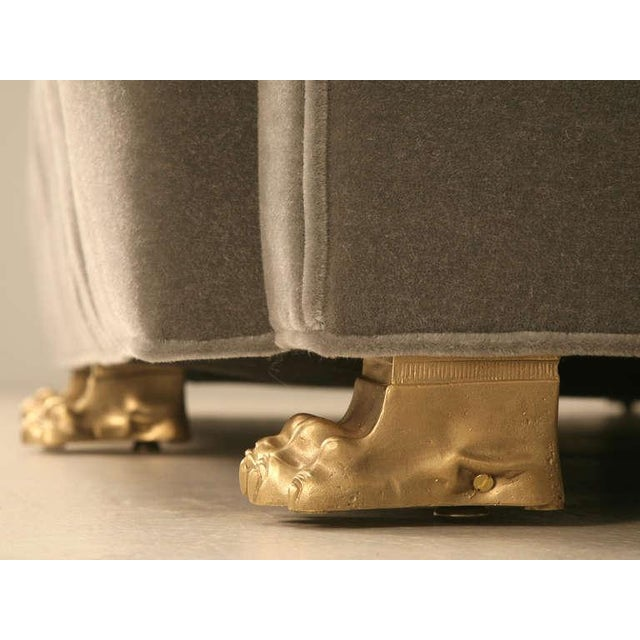 Chesterfield in Mohair with Solid Bronze Paw Feet For Sale - Image 5 of 10