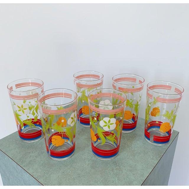 Vintage 1950s Floral Kitsch Drinking Glasses - Set of 6 For Sale - Image 10 of 10