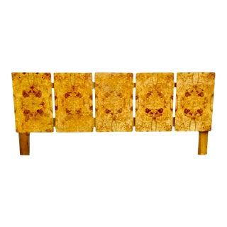 Milo Baughman Restored Re-Lacquered Burl Wood King-Size Headboard For Sale